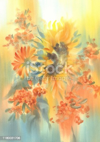 istock a bouquet of sunflowers on yellow watercolor background 1180031706