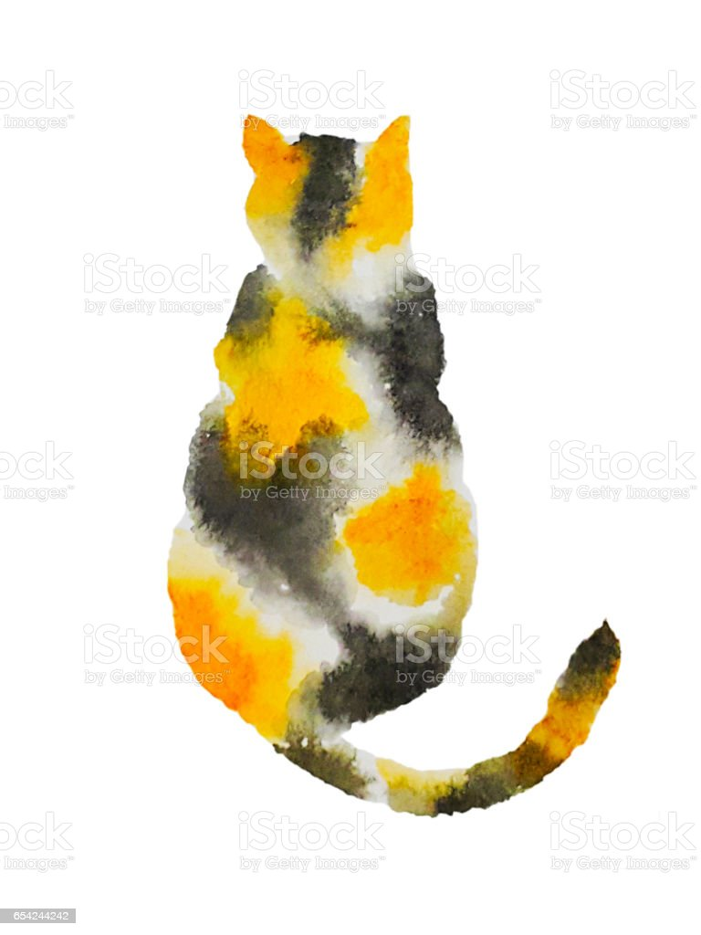 a calico cat vector art illustration