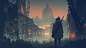 young man with a gun looking at a crowd of people in the apocalyptic city, digital art style, illustration painting