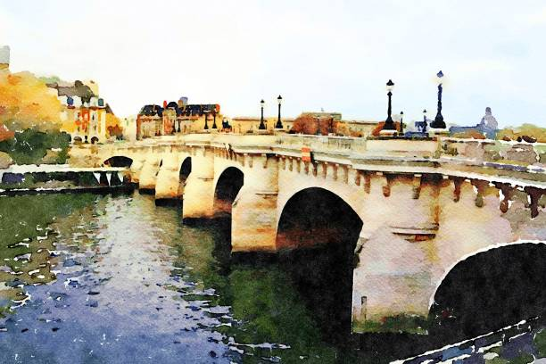 a glimpse of Pont Neuf in Paris watercolor representing a glimpse of Pont Neuf in Paris seine river stock illustrations
