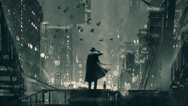 a good detective in a cruel world film noir concept showing the detective holding a gun to his head and standing on roof top at rainy night, digital art style, illustration painting detective stock illustrations