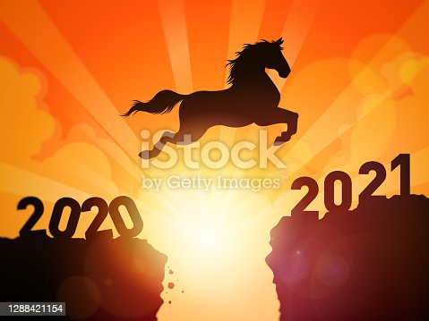 A symbolic illustration of a silhouetted horse jumping over cliffs into next year of 2021.