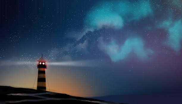 ein leuchtturm in der milchstraße und sternfeld, digitale kunststil, illustration, malerei arbeiten. - milky way stock-grafiken, -clipart, -cartoons und -symbole