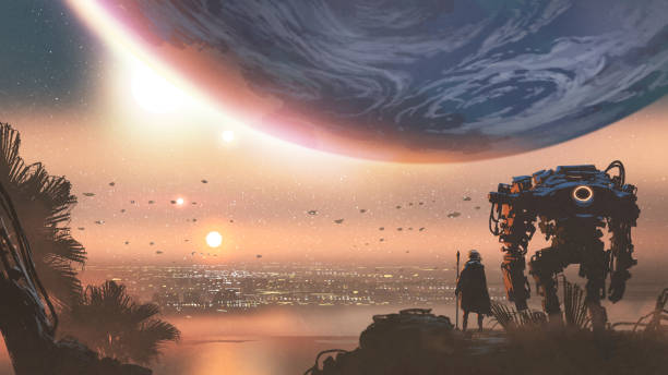 stockillustraties, clipart, cartoons en iconen met een nieuwe kolonie in de buitenaardse planeet - ruimte exploratie