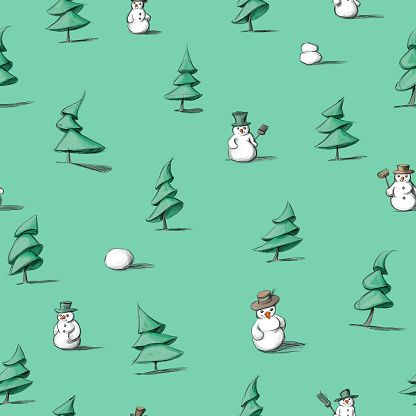 a pattern with fir trees and snowmen
