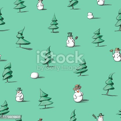 istock a pattern with fir trees and snowmen 1279926603