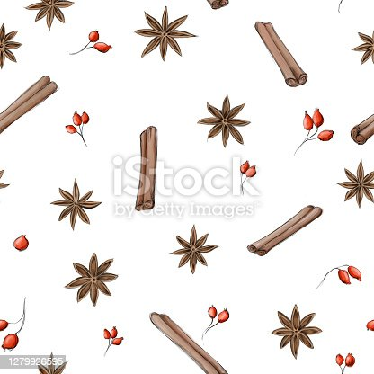 istock a Pattern with star anise, cinnamon and rose hips 1279926595