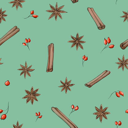 a Pattern with star anise, cinnamon and rose hips