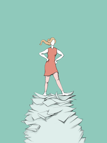 a Resolute woman who is standing on stack of paper