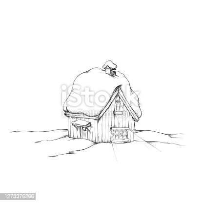 istock a snow covered, illuminated wooden hut in the snow 1273376266