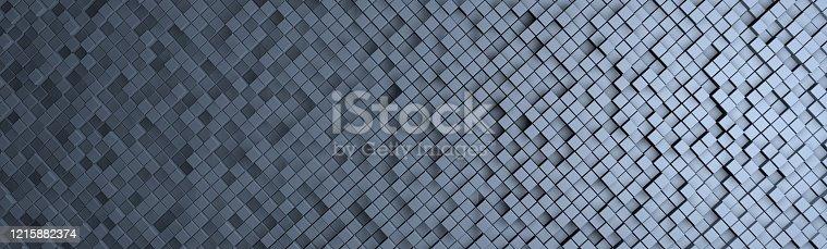 istock 3D - a wall of blue cubes banner 1215882374