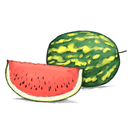 a Watermelon, cut open and whole