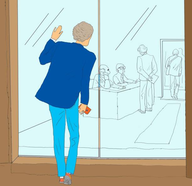 illustrations, cliparts, dessins animés et icônes de un jeune homme entrant dans l'entreprise à la recherche d'un emploi - réception en plein air