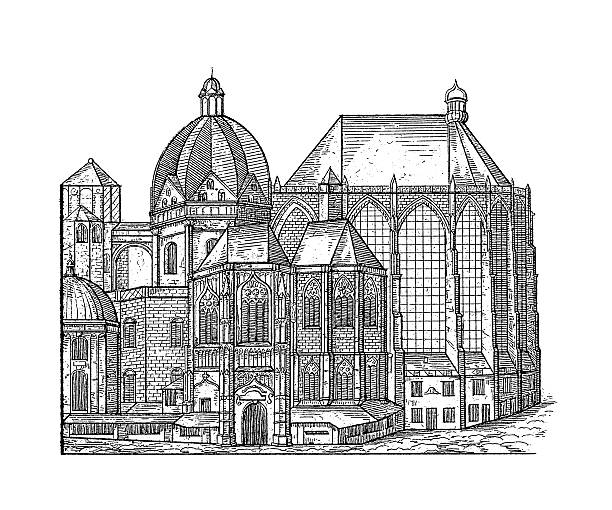 Aachen Cathedral, Germany | Antique Architectural Illustrations