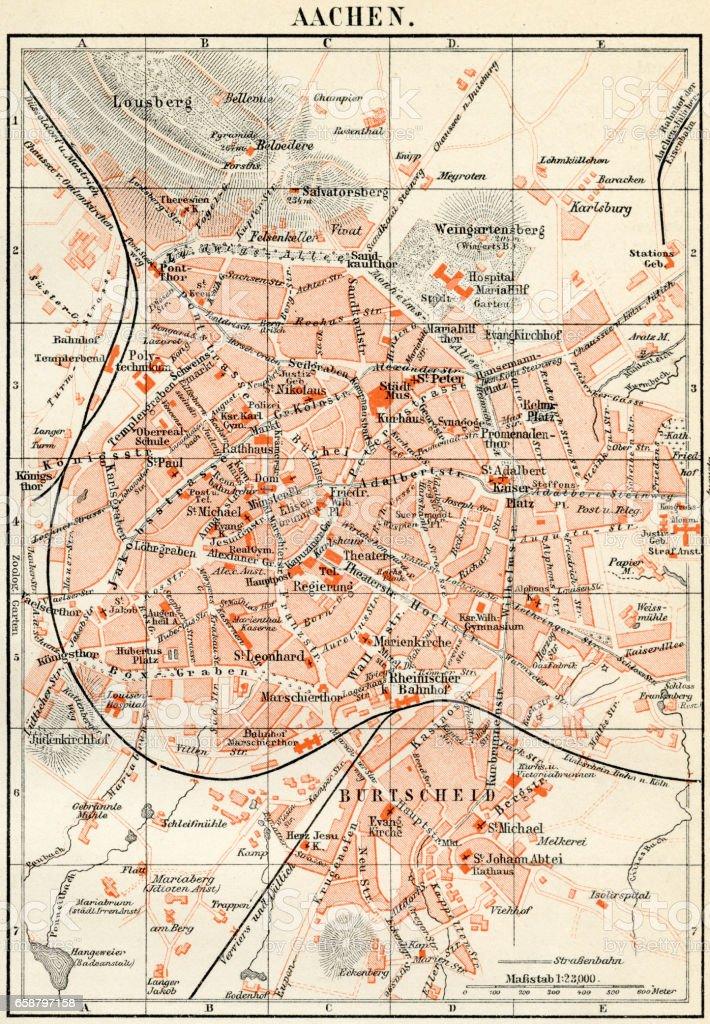 Aachen City Map 1895 Stock Vector Art More Images of Aachen