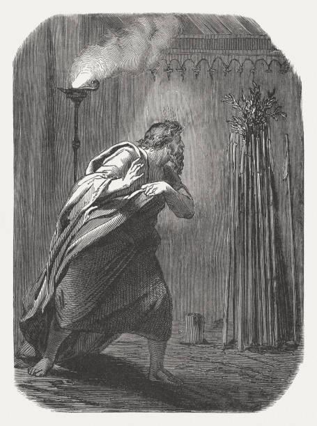 Aaron's staff blooms (Numbers 17, 23), wood engraving, published in 1886 Aaron's staff blooms (Numbers 17, 23). Wood engraving, published in 1886. moses religious figure stock illustrations