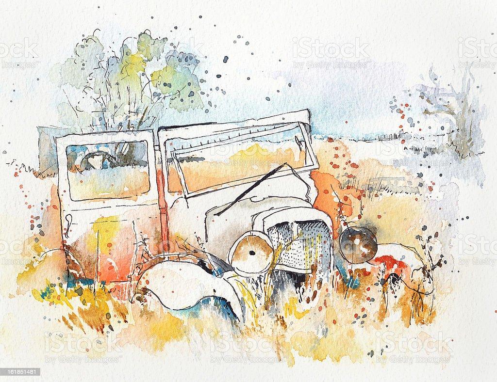 Abandoned car vector art illustration