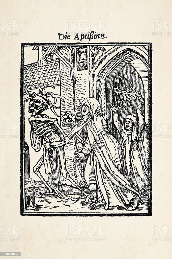 Abbess with skeleton from dance of death after Holbein royalty-free stock vector art