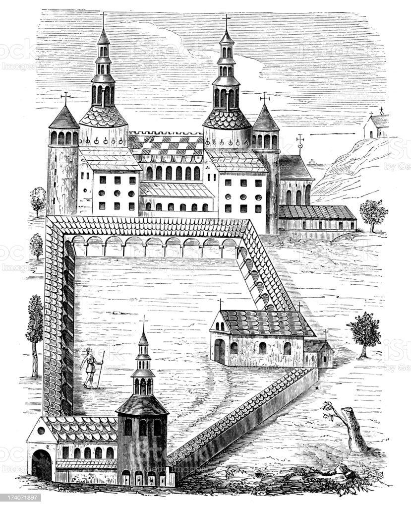 Abbey of Saint-Riquier royalty-free stock vector art