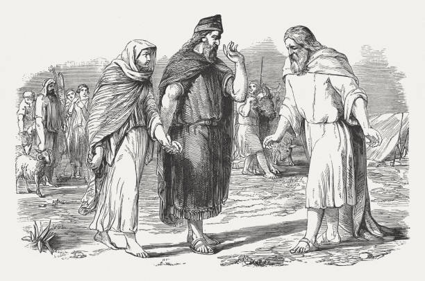 Abimelech gives Sarah back to Abraham (Genesis 20), published 1886 King Abimelech gives Sarah back to Abraham (Genesis 20). Wood engraving, published in 1886. Abraham stock illustrations