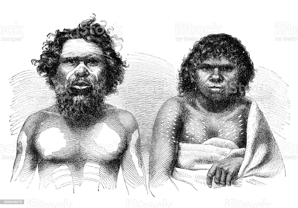 Aboriginal Australians couple portrait 1870 vector art illustration