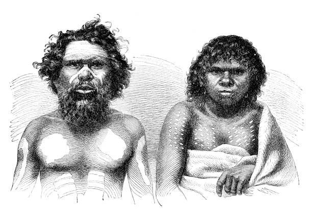 アボリジニー系オーストラリア人カップルの肖像画 1870 ベクターアートイラスト