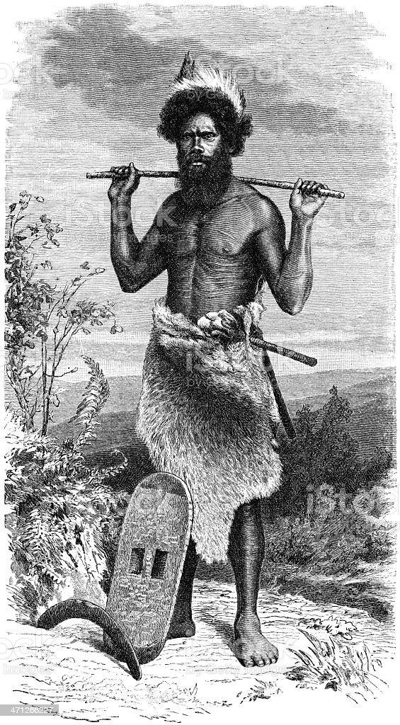 aboriginal man vector art illustration