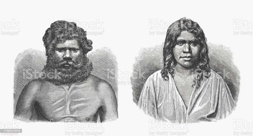 Aboriginal People Man And Woman Southern Australia Woodcuts