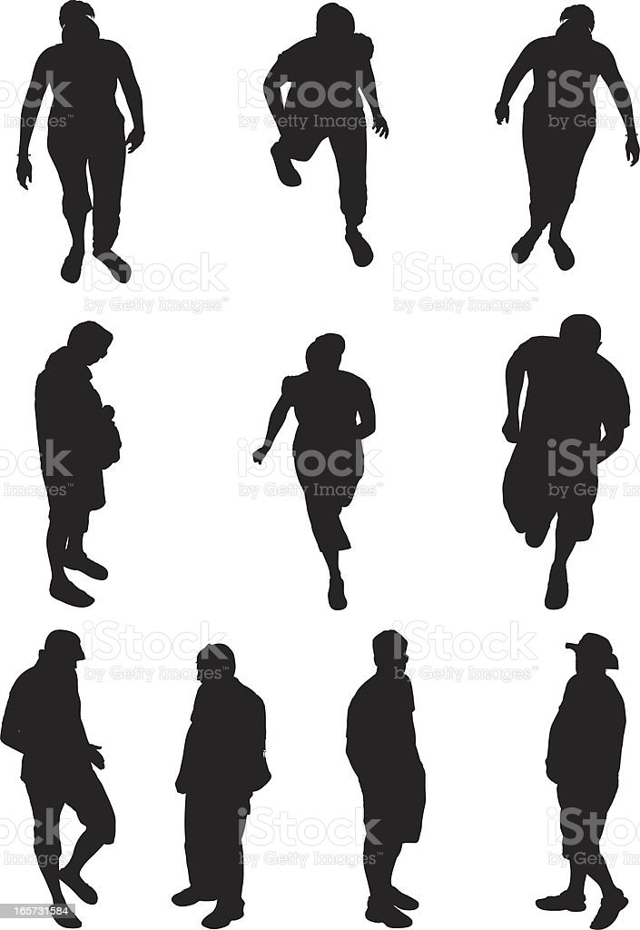 Above view of people on street royalty-free stock vector art