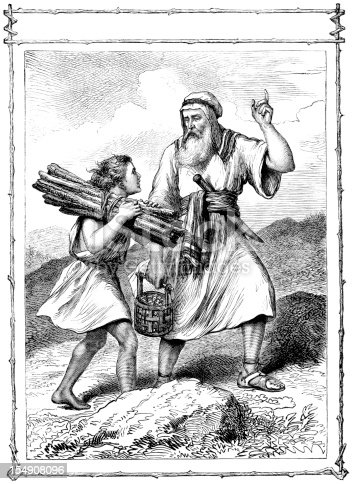 A scene from the Old Testament - Abraham and his son Isaac who is carrying the sticks for the 'burnt offering', or sacrifice, which Abraham had been asked by God to make of Isaac. Illustration from