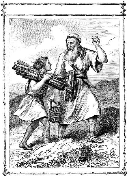 "Abraham and Isaac (Victorian illustration) A scene from the Old Testament - Abraham and his son Isaac who is carrying the sticks for the 'burnt offering', or sacrifice, which Abraham had been asked by God to make of Isaac. Illustration from ""The Children's Friend"" Vol XIII, published by Seeley, Jackson & Halliday, S.W Partridge & Co. in 1873. Abraham stock illustrations"