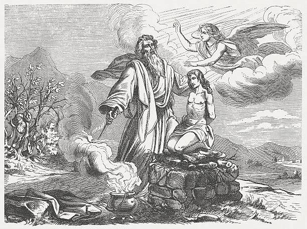 "Abraham and Isaac (Genesis 22, 11-13), wood engraving, published 1877 ""But the Lordaas angel called to him from heaven,aAbraham! Abraham!ai aHere I am!ai he answered. aDo not harm the boy!ai the angel said. aDo not do anything to him, for now I know that you fear God because you did not withhold your son, your only son, from me.aiAbraham looked up and saw behind him a ram caught in the bushes by its horns. So he went over and got the ram and offered it up as a burnt offering instead of his son. (Genesis, Chapter 22, 11-13). Woodcut after a drawing by Julius Schnorr von Carolsfeld (German painter, 1794 - 1872) from my archive, published in 1877."" Abraham stock illustrations"