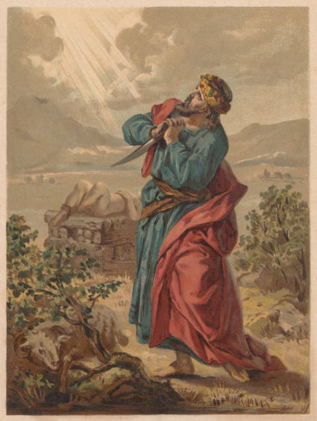 Abraham and the Sacrifice of Isaac (Genesis 22), published 1886 Abraham and the Sacrifice of Isaac (Genesis 22). Chromolithograph, published in 1886. Abraham stock illustrations