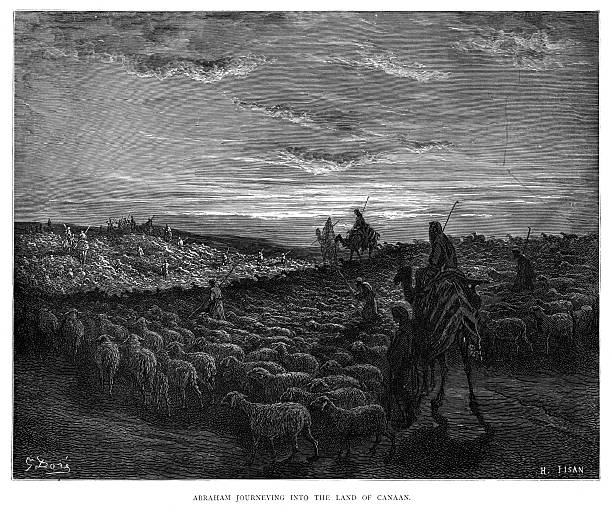 Abraham journey to Canaan engraving 1870 The Dore Gallery by Edmund Ollier - Cassel, Petter and Galpin (London-New York) 1870 Abraham stock illustrations