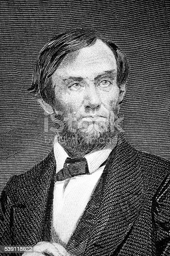 Abraham Lincoln (1809 – 1865) was the 16th President of the United States. An image of an original engraving from the