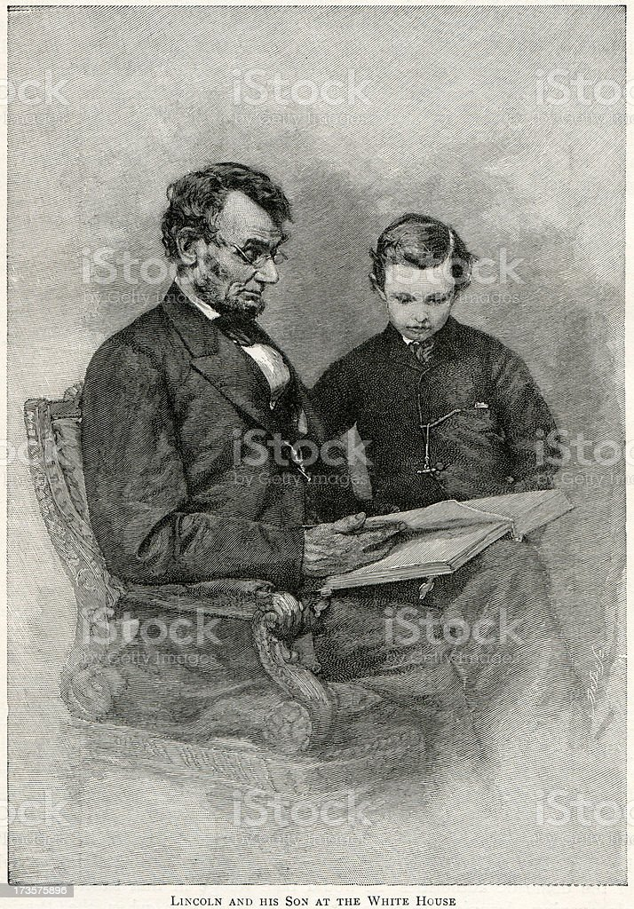 Abraham Lincoln and son royalty-free stock vector art