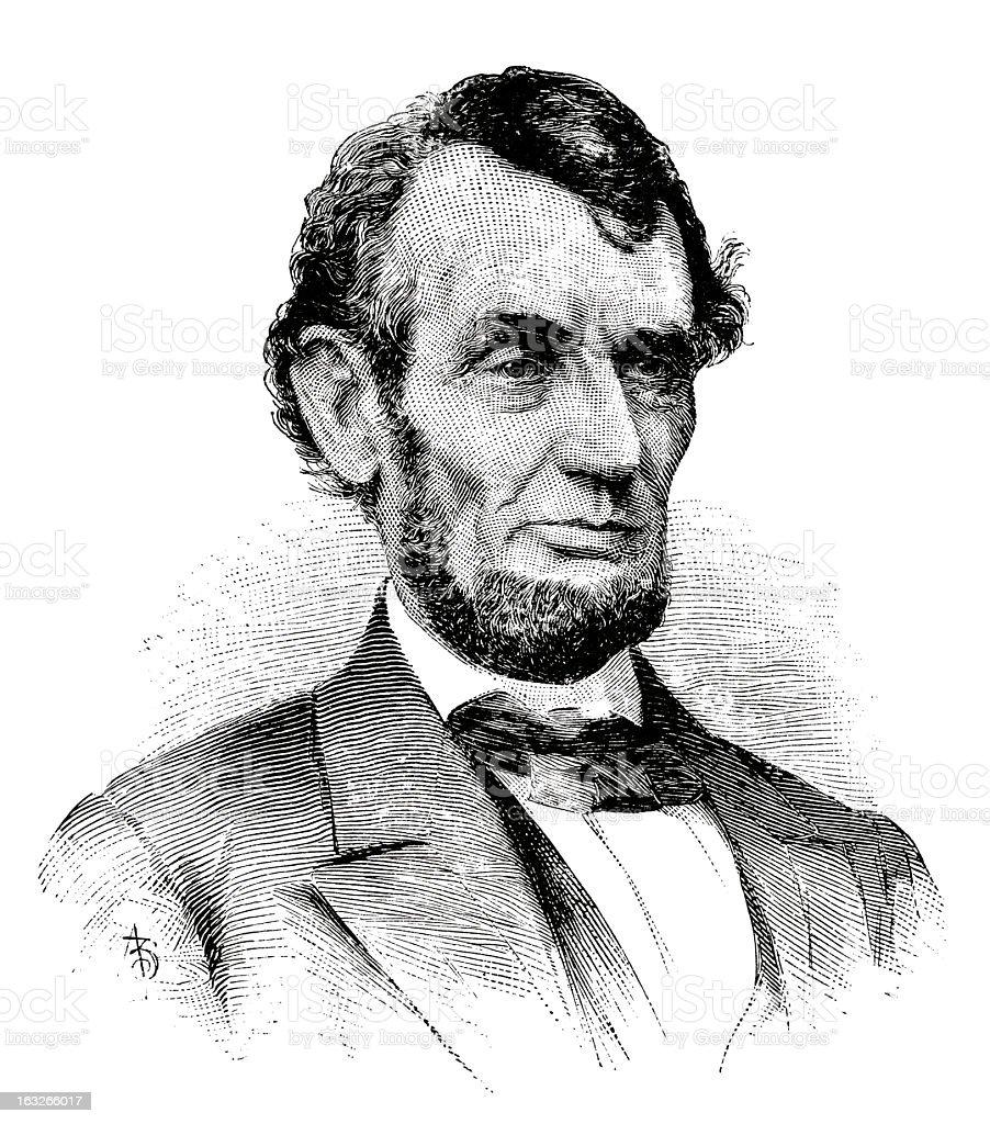 Abraham Lincoln - Antique Engraved Portrait vector art illustration