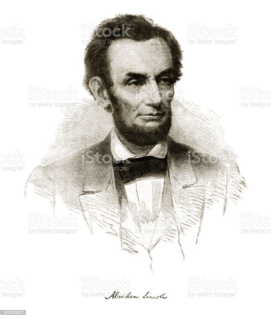 Abraham Lincoln Engraving vector art illustration