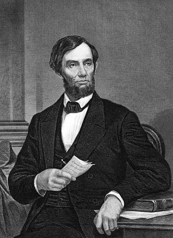 Abraham Lincoln (1809-1865) on engraving from 1873.  16th president of the United States. Engraved by unknown artist and published in ''Portrait Gallery of Eminent Men and Women with Biographies'',USA,1873.