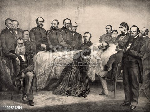 Vintage illustration features President Abraham Lincoln as he lay dying on his deathbed on April 15, 1865, the morning after he was shot in the head by a Confederate sympathizer while watching a play at Ford's Theatre in Washington, D.C. Lincoln died on April 15, 1865, at 7:22 am, aged 56.