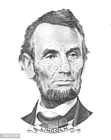 Abraham Lincoln portrait isolated on white background