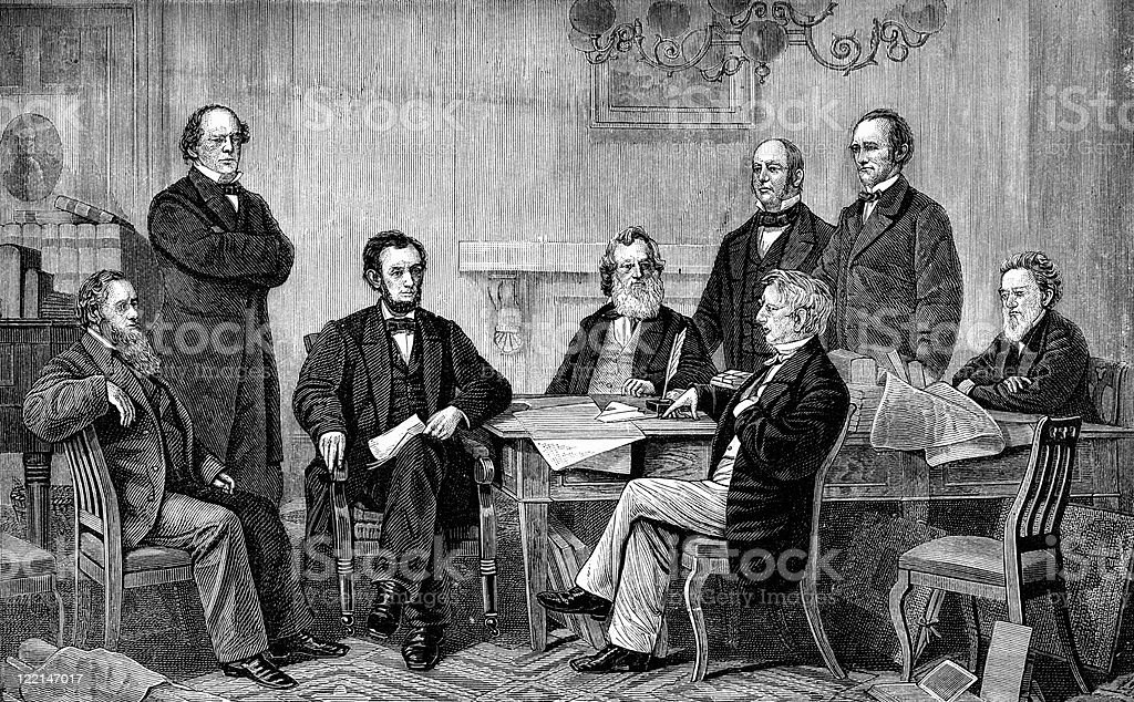 Abraham Lincoln Signs Emancipation Proclamation vector art illustration