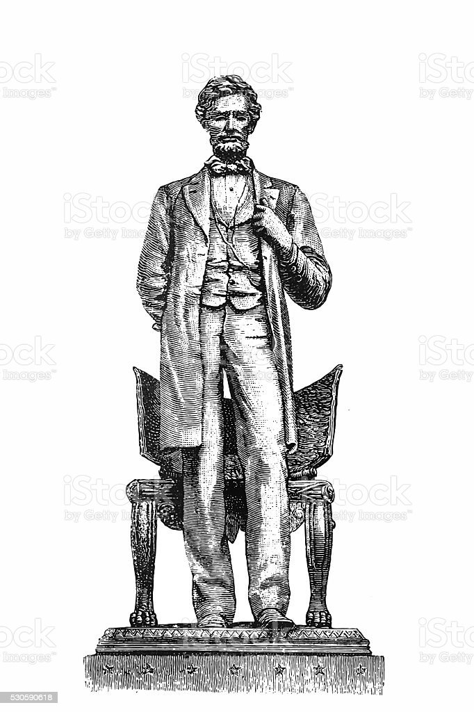 Abraham Lincoln Standing, 1864 vector art illustration