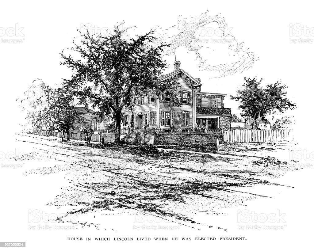 Abraham Lincoln's house vector art illustration