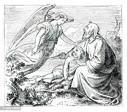 Abraham offering Isaac speaking to angel Abimelech illustration 1882 Original edition from my own archives Source : Biblische Geschichte 1882