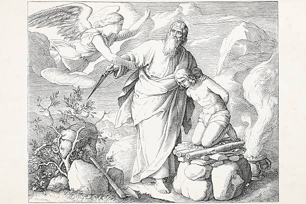 Abraham offering Isaac speaking to angel Abimelech http://farm6.staticflickr.com/5478/9509062322_b06767a255_o.jpg?v=0 Abraham stock illustrations