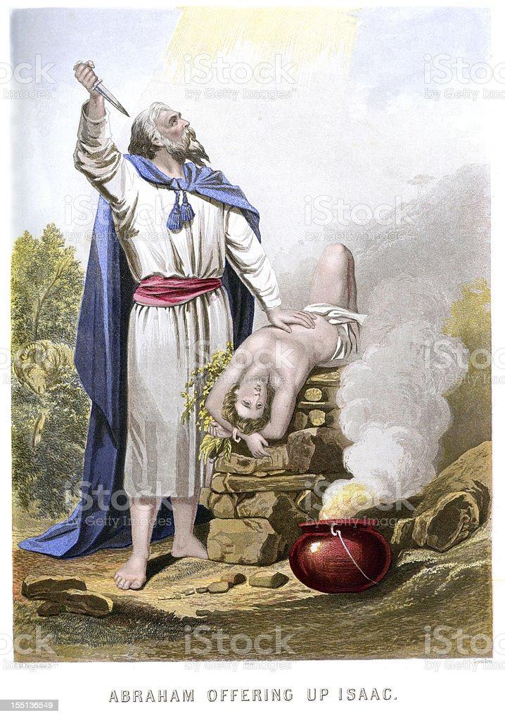 Abraham offering up Isaac vector art illustration