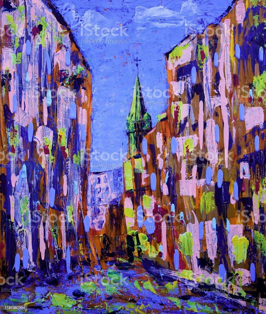 旧市街街のアブストラクトアート絵画 - お祝いのベクターアート素材や ...