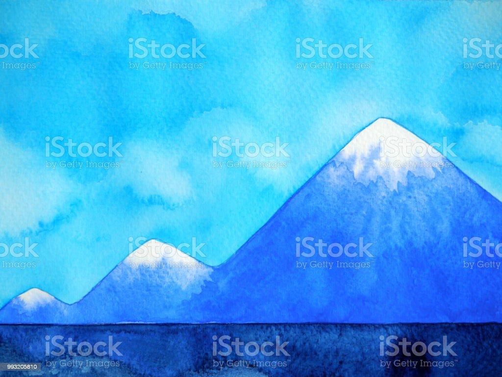 Ilustración de Resumen Paso 3 Montañas Picos Acuarela Paisaje Mano ...