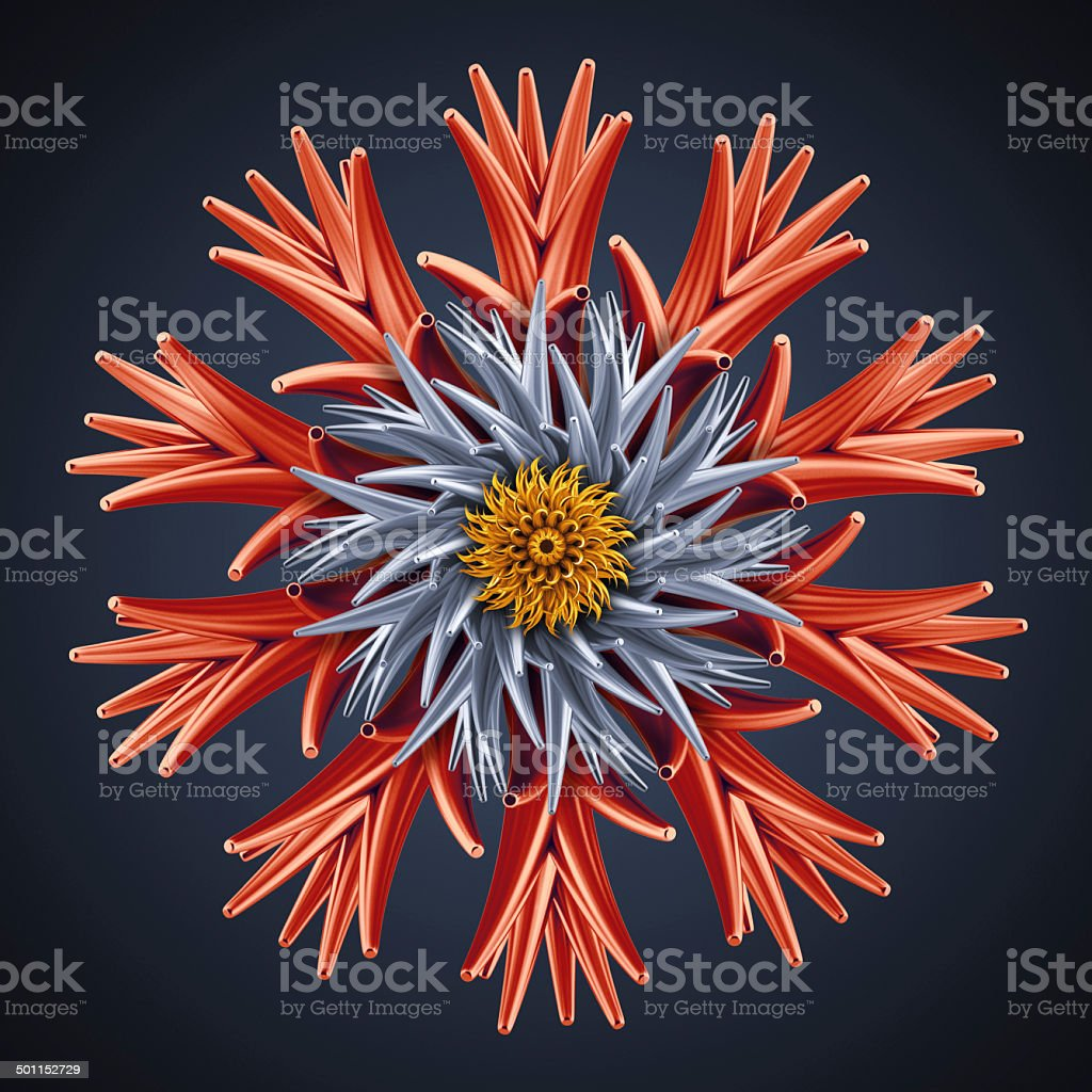 abstract 3d flower isolated object vector art illustration